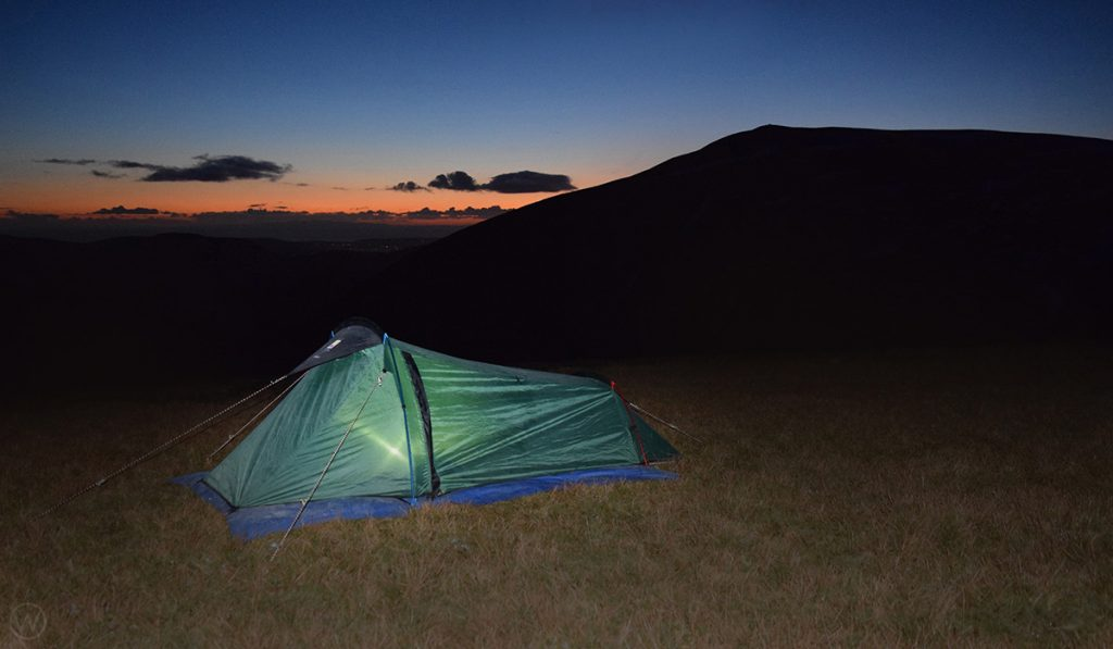 Sunset wild camp on the Coledale Horseshoe