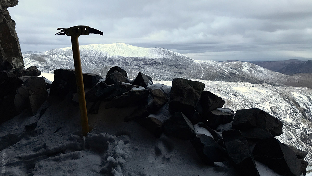 Ice axe and a view from the Priest's Hole Cave