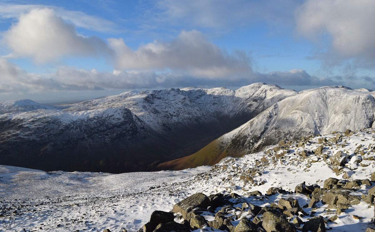 Pillar and Great Gable from Ling Mell in Winter