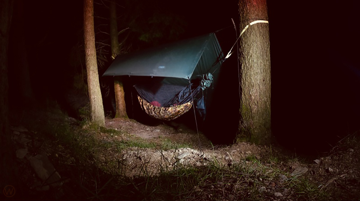Hammock camping in the woods