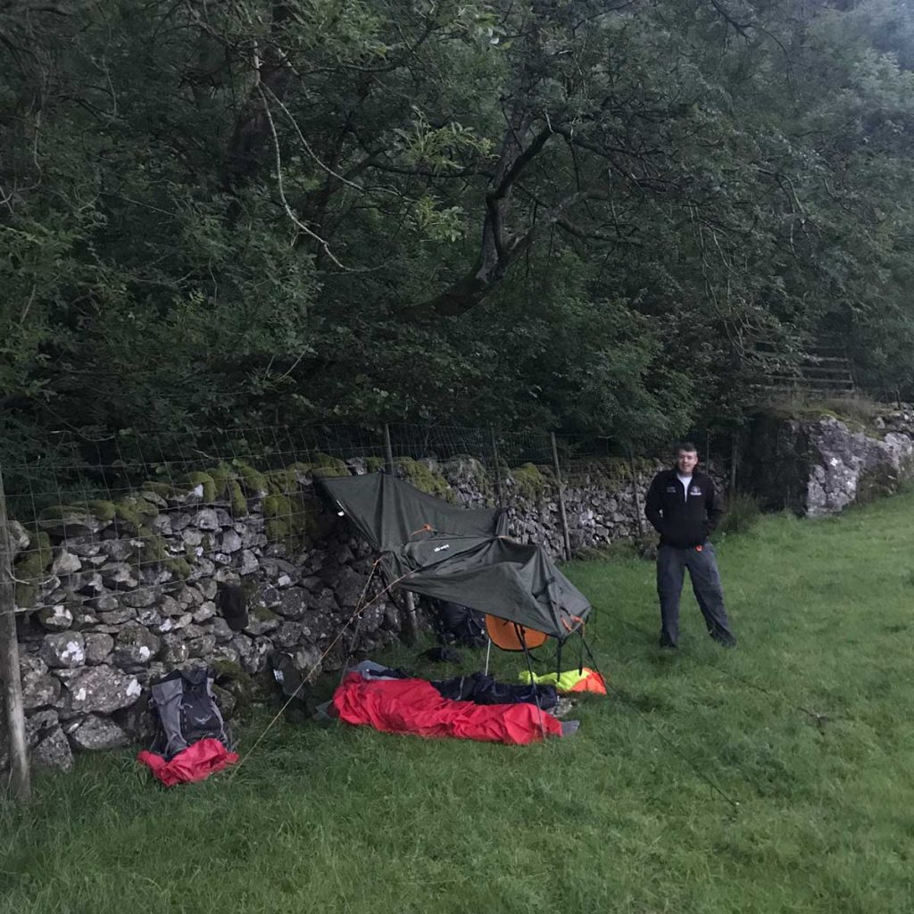 Wild camping under a tarp in Kentmere