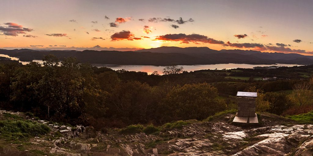Red sky at night over Windermere and the Langdale Pikes
