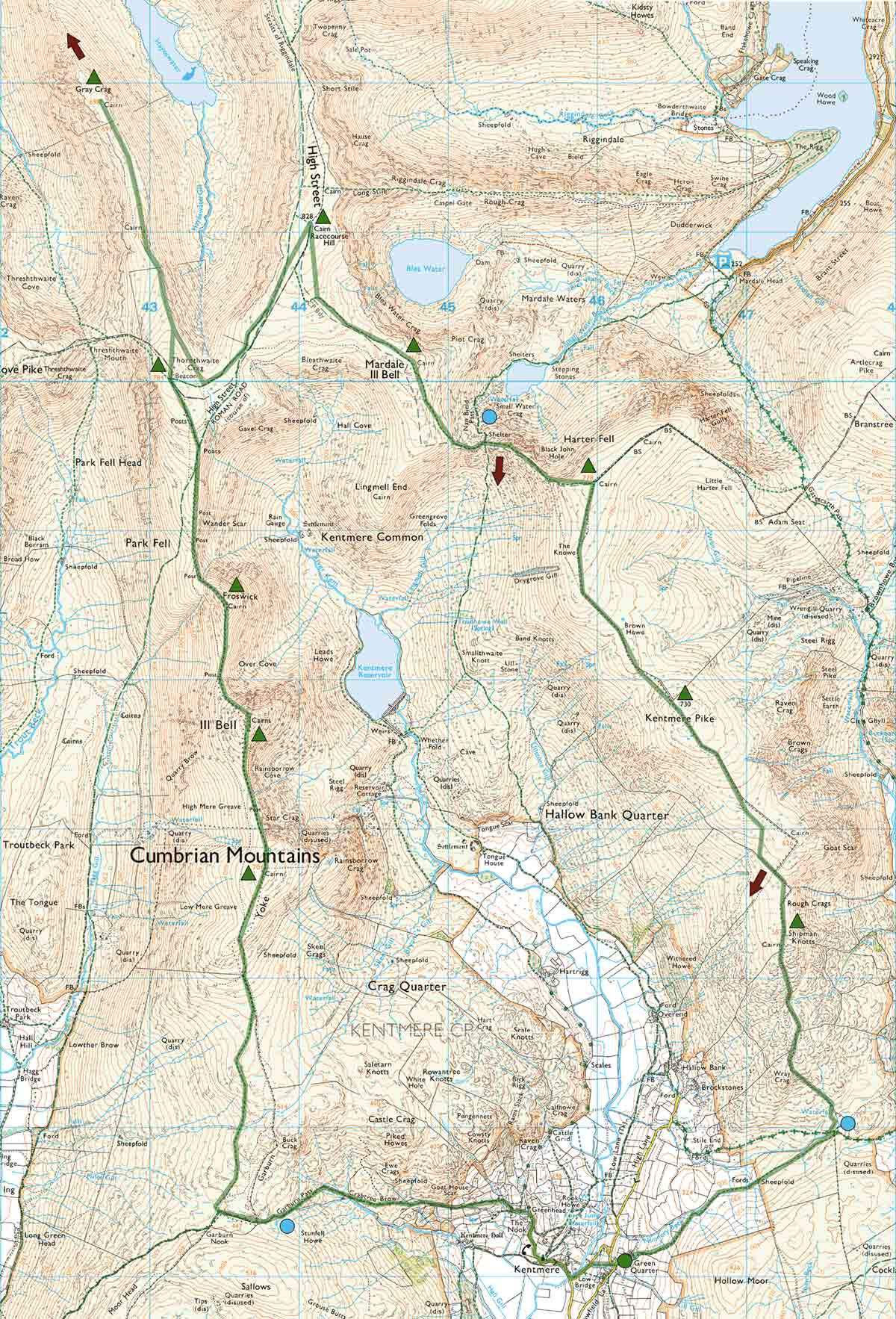 Kentmere Horseshoe route map