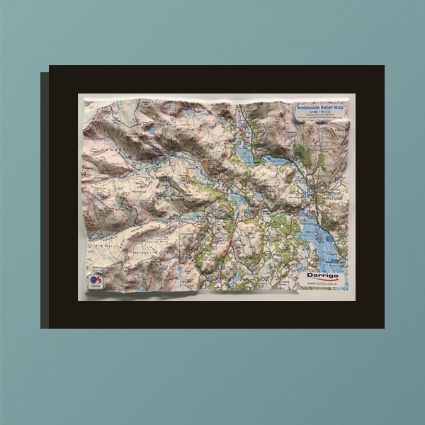 3D Relief Map of Ambleside and the Langdale Fells
